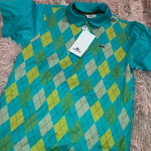 NWT Checkered blue & green Lacoste Polo 🦋